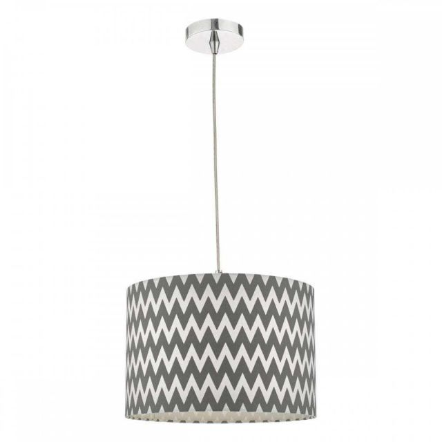 ZIG6555 Ziggy Easy Fit Pendant In Grey And White Cotton