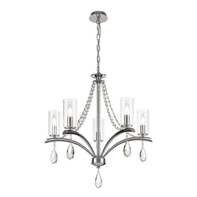 Diyas IL32795 Rhea 5 Light Multi Arm Ceiling Pendant In Polished Chrome With Clear Glass Shades