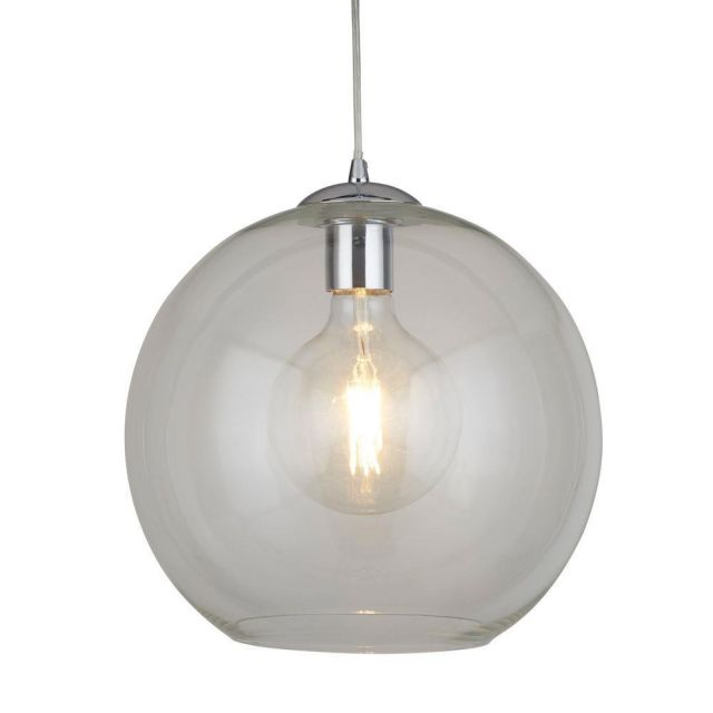 Searchlight 1632CL Balls One Light Celing Pendant In Chrome And Clear Glass - Width: 300mm