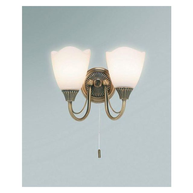 Endon 601-2AN 2 Light Wall Light Plated In Antique Brass