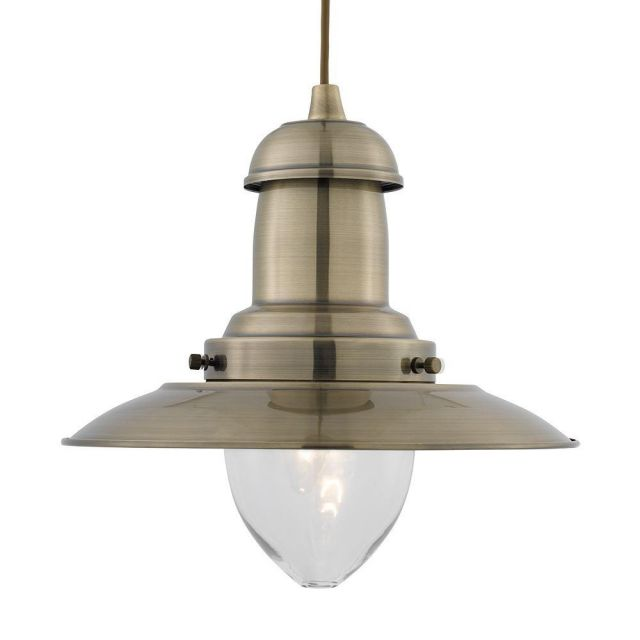 Searchlight 4301AB Large Fisherman Ceiling Pendant In Antique Brass