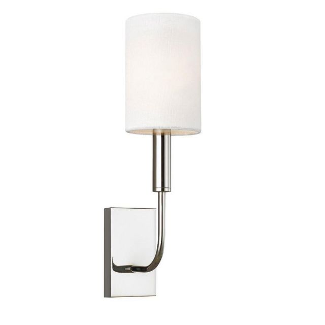 FE-BRIANNA1-PN Brianna 1 Light Wall Light In Polished Nickel With White Linen Shade