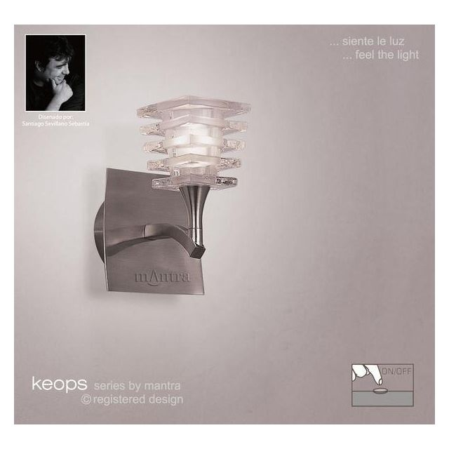 M0028/S Keops 1 Light Satin Nickel Switched Wall Lamp