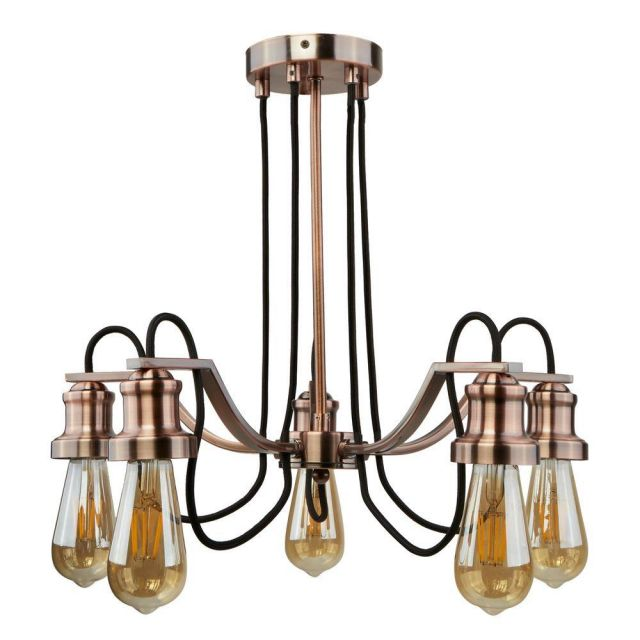 Searchlight 1065-5CU Olivia Five Light Ceiling Pendant Light In Copper