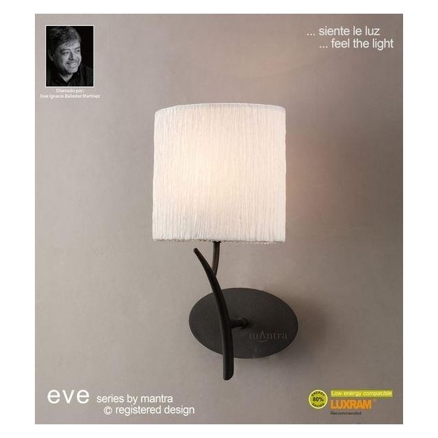 M1154 Eve 1 Light Anthracite Wall Lamp With Ivory Shade