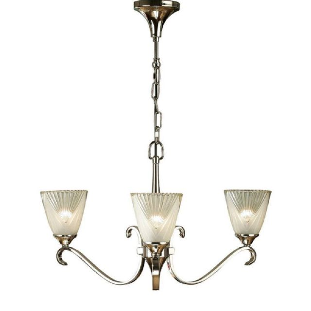 Interiors 1900 63440 Columbia 3 Light Ceiling Pendant In Nickel With Deco Style Glass Shades