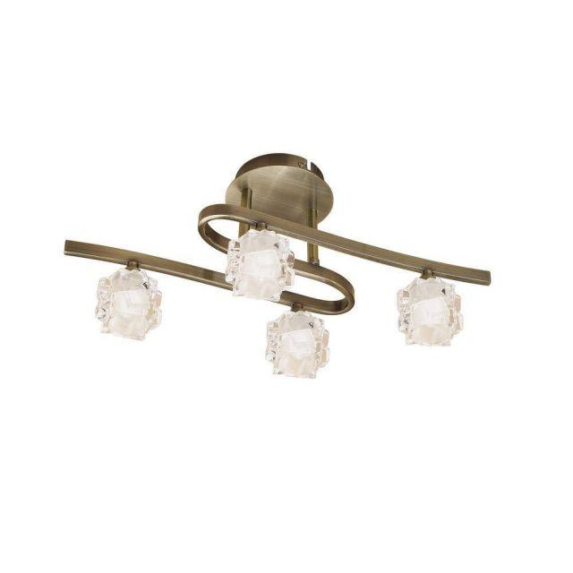 Mantra M1863 Ice 4 Light Semi Flush Ceiling Light In Antique Brass