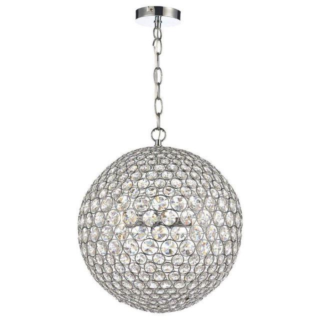 Dar FIE0550 Fiesta 5 Light Crystal Globe Pendant Ceiling Light