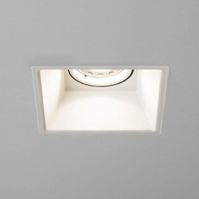 Astro 1249011 Minima One Light Square Fixed Recessed Ceiling Spotlight In White - Width: 92mm