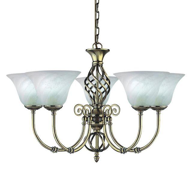 Searchlight 975-5 Cameroon Antique Brass 5 Light Pendant