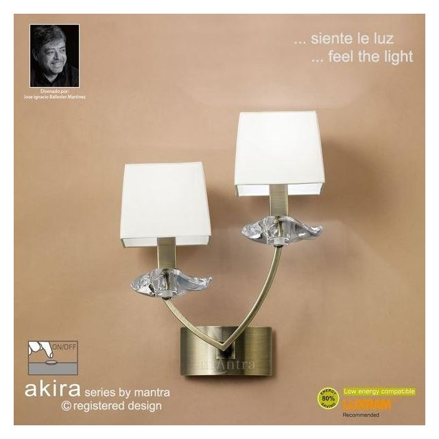 M0787AB/S Akira Antique Brass 2Lt Wall Lamp With Cream Shades