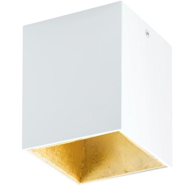 Eglo 94498 Polasso One Light Cubed LED Ceiling Light In White And Gold