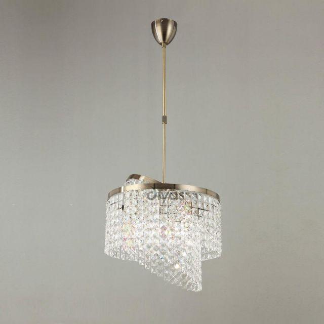 IL30093 Cortina 6 Light Antique Brass Crystal Pendant