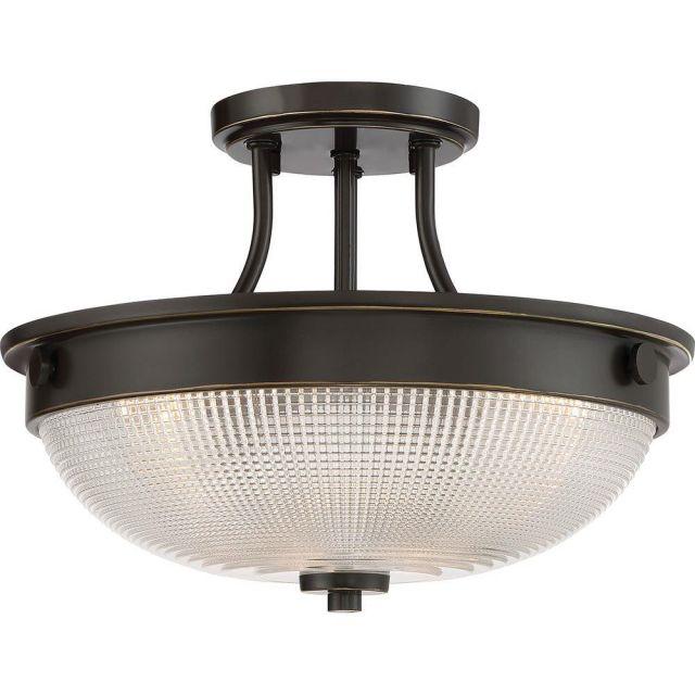 QZ/MANTLESFPN Mantle 2 Light Semi Flush Ceiling Light In Bronze