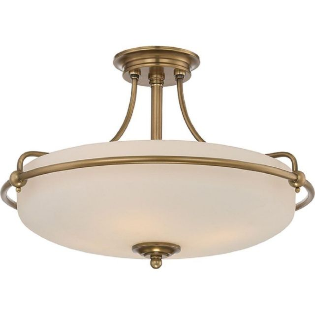 QZ/GRIFFIN/SFMWS Griffin 4 Light Semi-Flush Ceiling Light In Weathered Brass