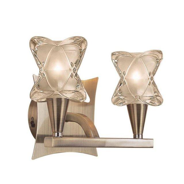 M0052AB/S Rosa Del Desierto 2 Lt Antique Brass Halogen Wall Lamp