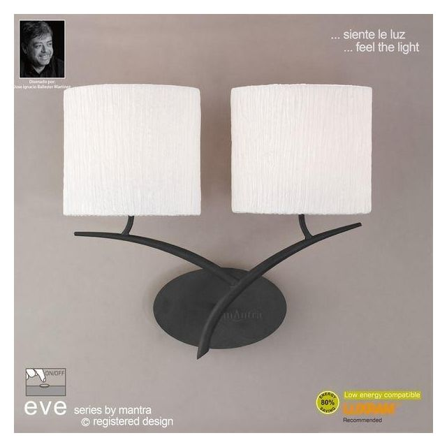 M1155/S Eve 2 Lt Anthracite Switched Wall Lamp With Ivory Shades