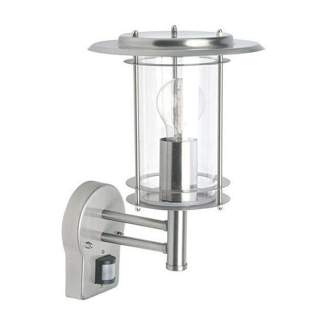 Saxby 4479782 York 1 Light Exterior Sensor Polished Steel Lantern