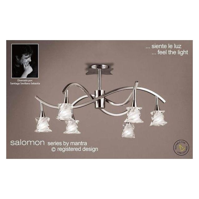M3027SN Salomon 6 Light Satin Nickel Semi-Flush Ceiling Lamp