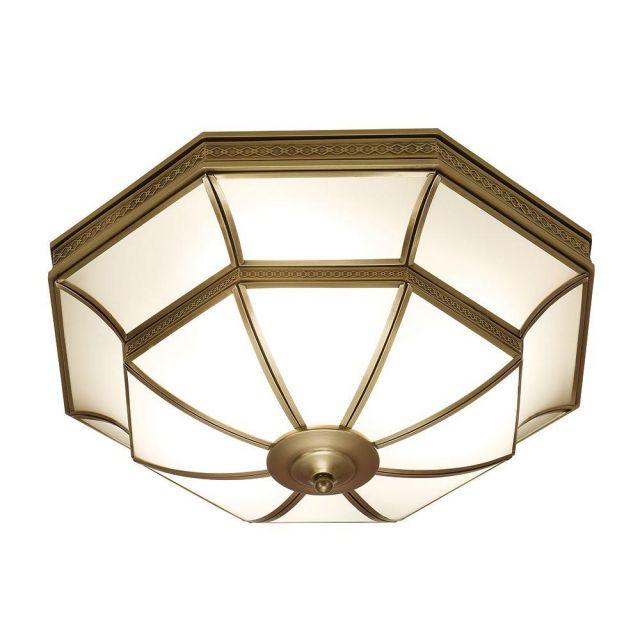Interiors 1900 SN02FL47 Balfour 4 Light Flush Ceiling Light In Antique Brass