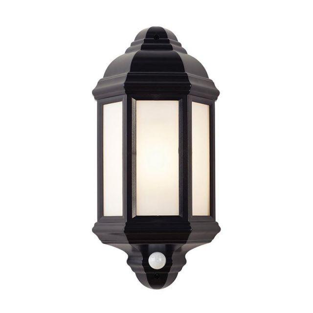 Saxby EL-40115 Halbury E27 PIR Outdoor Wall Light in Matt Black