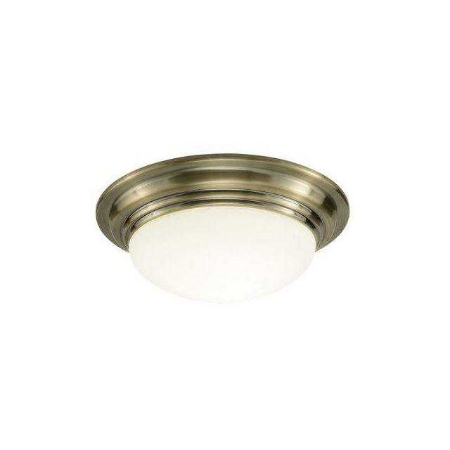 Dar BAR5275 Barclay Antique Brass Small Bathroom Flush Light
