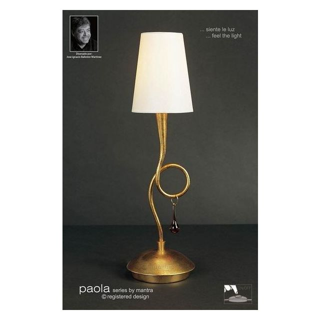 M0545 Paola 1 Light Gold Table Lamp With Cream Shade