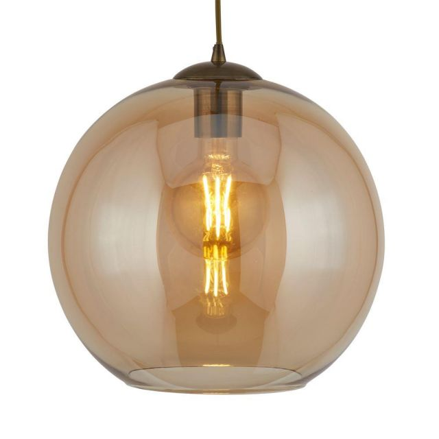Searchlight 1621AM Balls One Light Celing Pendant In Antique Brass And Amber Glass - Width: 250mm