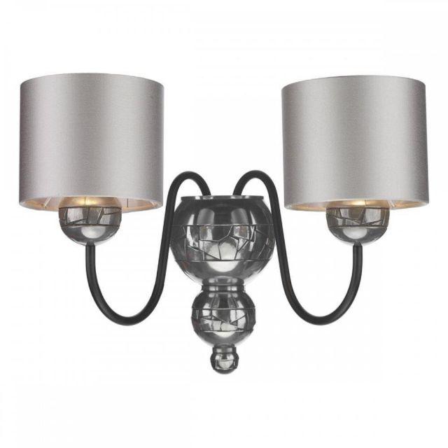 David Hunt Lighting GAR0999 Garbo 2 Light Wall Light In Pewter With Bespoke Shades