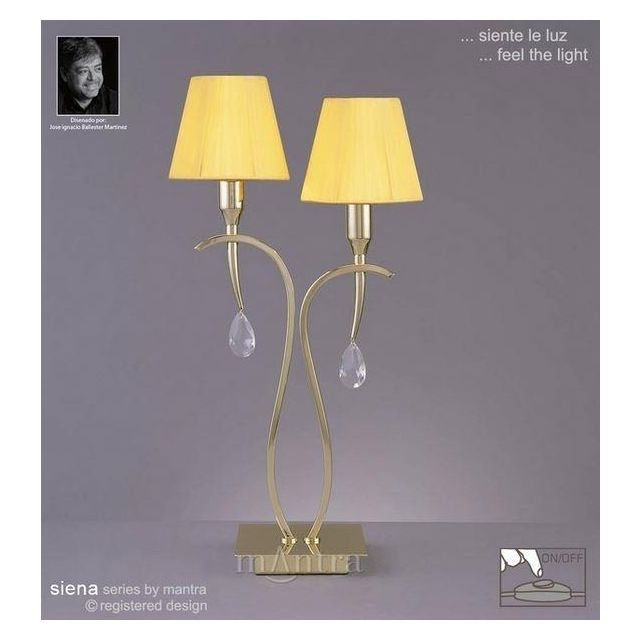 M0350PB Siena Polished Brass 2 Light Table Lamp With Shade