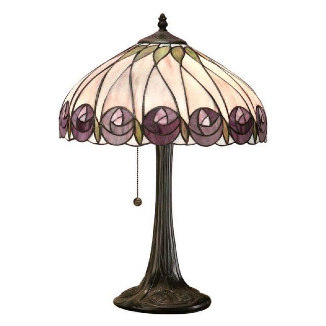 Interiors 1900 64177 Hutchinson Tiffany 1 Light Medium Table Lamp In Dark Bronze