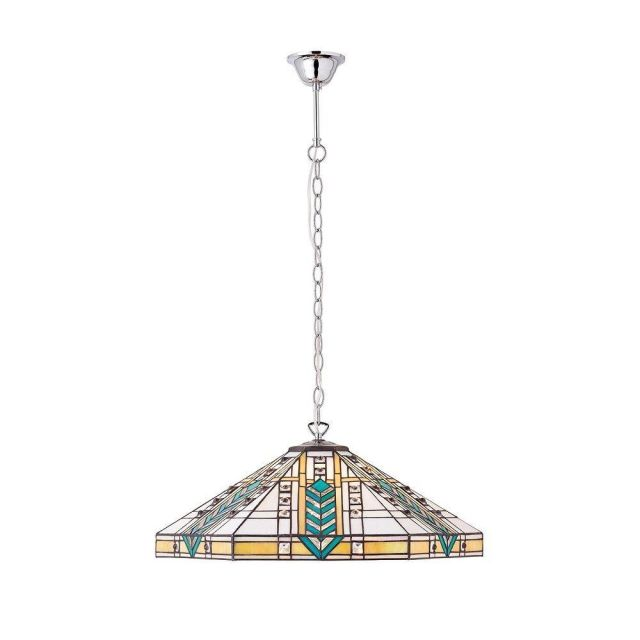 Interiors 1900 70903 Lloyd Tiffany 3 Light Large Ceiling Pendant Light In Polished Aluminium
