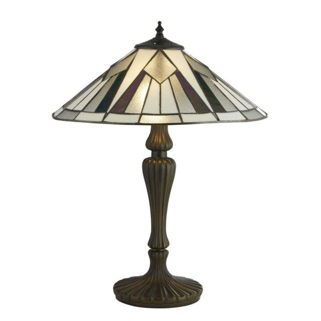 Searchlight 6073-42 Gatsby Large Table Lamp In Antique Brass With Tiffany Glass - H: 560mm