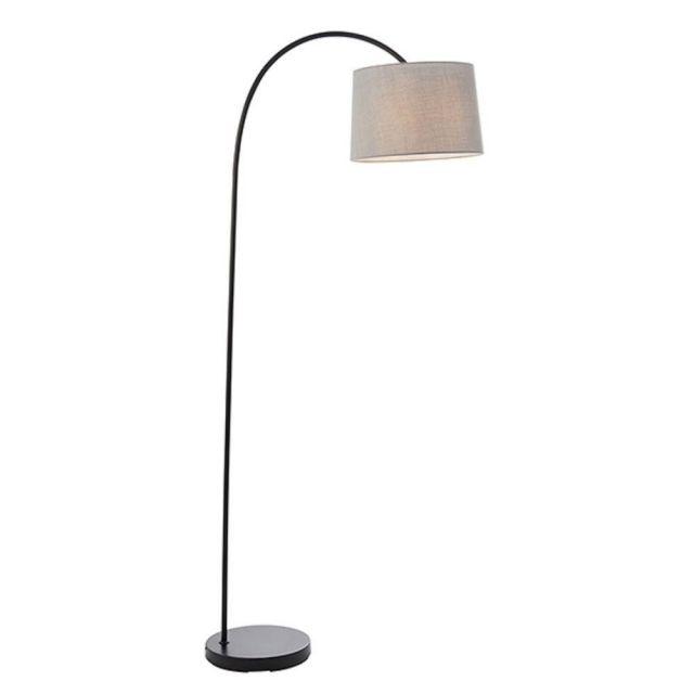 Endon 78163 Carlson Floor Light In Matt Black With Light Grey Fabric Shade