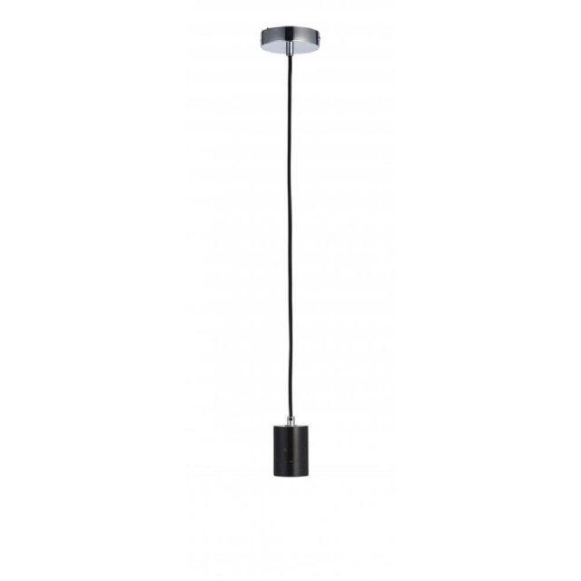 1 Light Ceiling Pendant Light In Black Marble With Black Flex