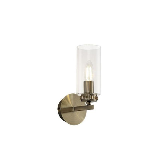 Benz 1 Light Wall Light In Antique Brass With Clear Glass