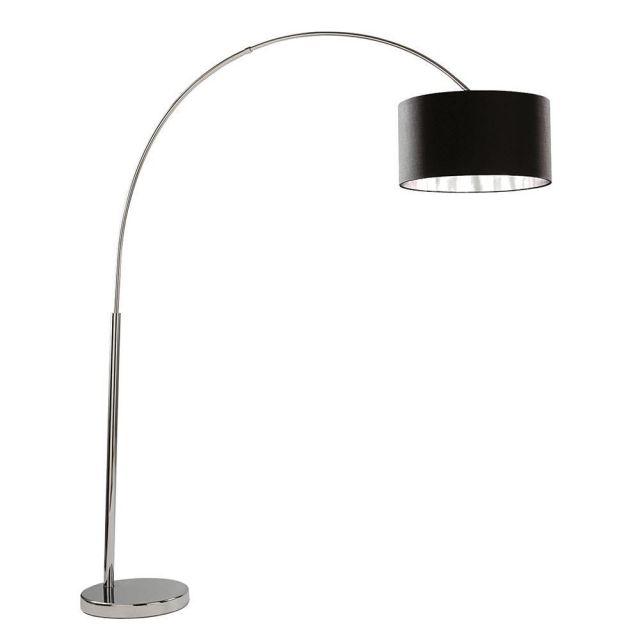 Searchlight 1013CC Arcs Chrome Floor Lamp With Black Fabric Shade