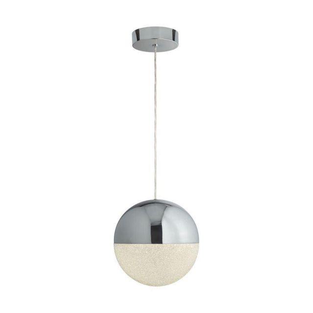 Searchlight 5841CC Marbles One Light Ceiling Pendant Light In Chrome With Crushed Ice Glass