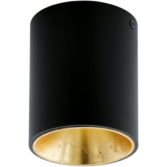 Eglo 94502 Polasso One Light Cylindrical LED Ceiling Light In Black And Gold