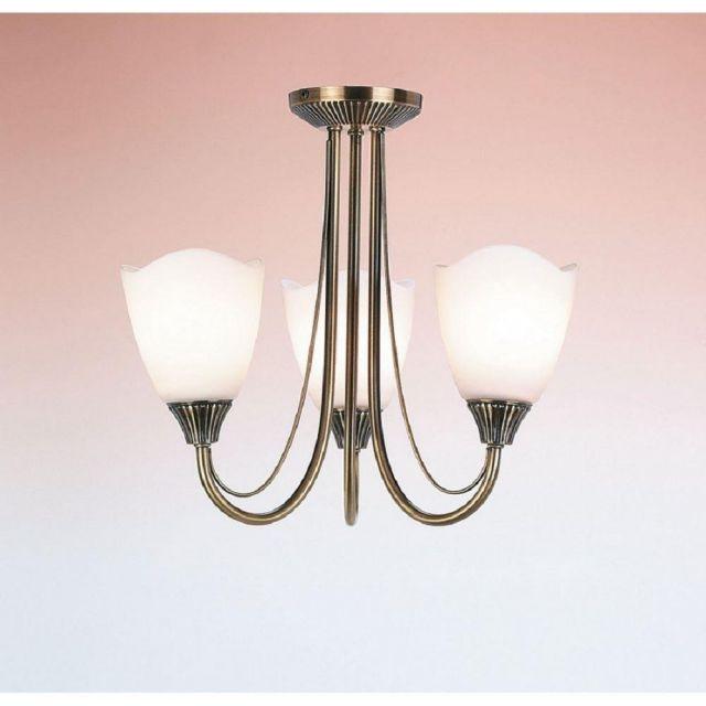 Endon 601-3AN 3 Light Semi-Flush Ceiling Light Plated In Antique Brass