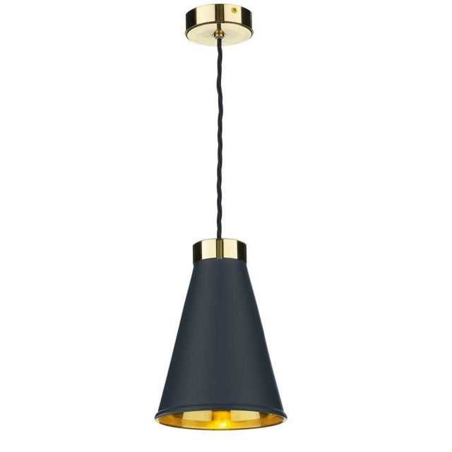David Hunt Lighting HYD0123 Hyde One Light Ceiling Pendant Light In Brass With Smoke Blue Metal Shade