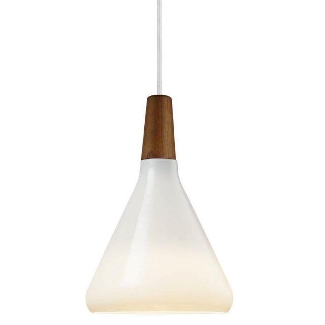 Nordlux 78203001 Float 18 1 Light Ceiling Pendant In Opal White And Walnut Wood - Dia: 180mm