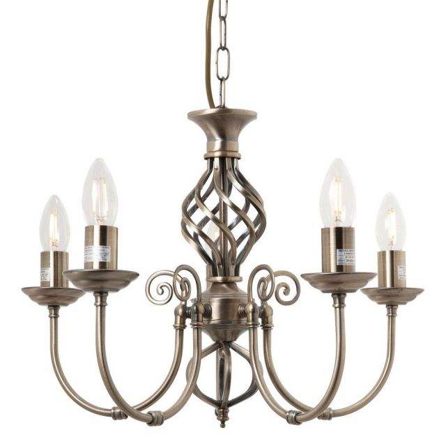 Barley 5 Light Classic Knot Twist Ceiling Light in Antique Brass