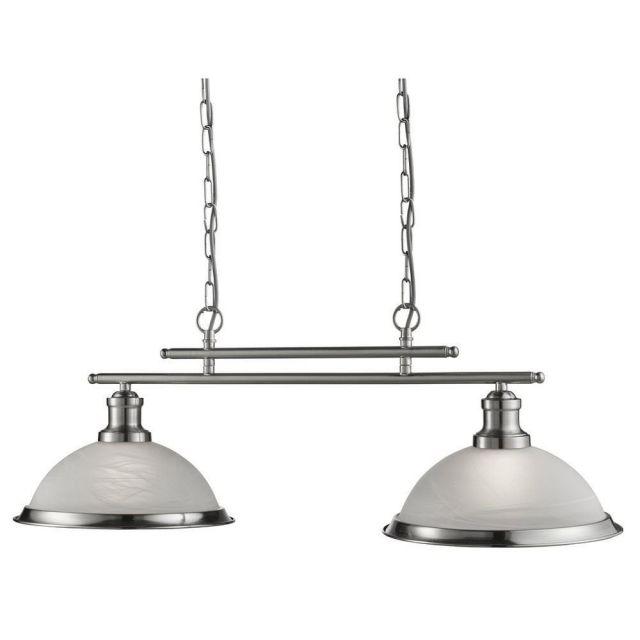 Searchlight 2682-2SS Bistro 2 Light Ceiling Bar Pendant Light Silver