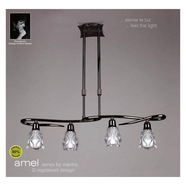 M8624BC Amel Low Energy 4 Lt Black Chrome Semi-Flush Pendant