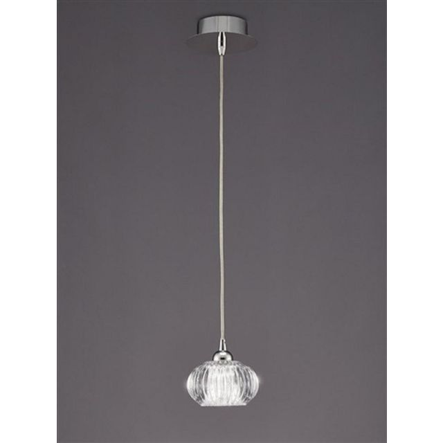PH117 Lizzy 1 Light Ceiling Pendant In Chrome With A Clear Modern Effect Glass Shade
