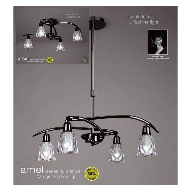 M8622BC Amel Low Energy 4 Lt Black Chrome Semi-Flush Pendant