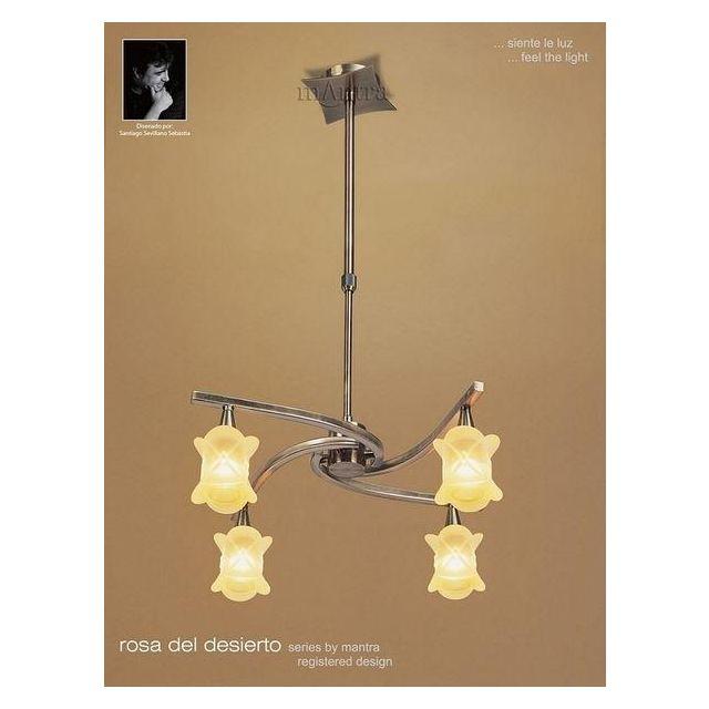 M0034AB Rosa Del Desierto 4 Lt Antique Brass Semi-Flush Pendant