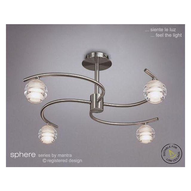 M8004 Sphere Satin Nickel 4 Light Semi-Flush Ceiling Light