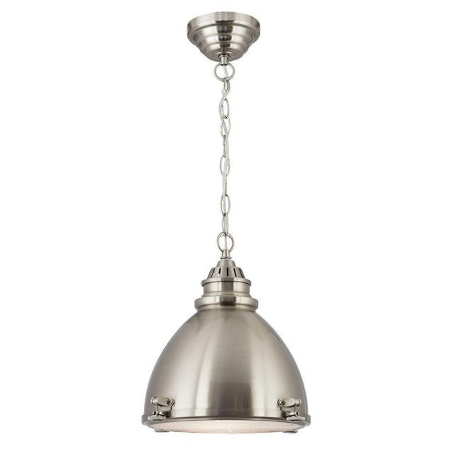 Searchlight 1294SS Satin Silver Ceiling Pendant Light with Glass Visor